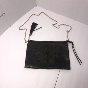 Handbag black with gold accents
